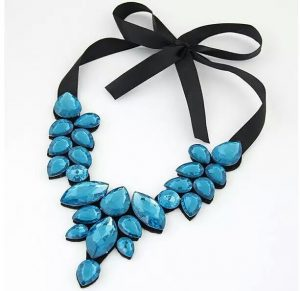 Sheron Blue Ribbon Necklace